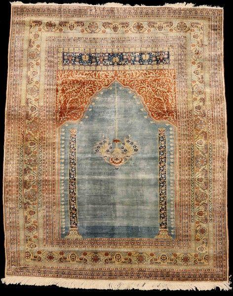 Rare Persian Tabriz Silk Prayer Rug 172