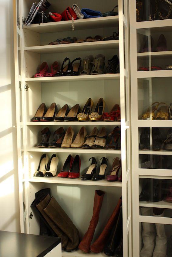 Shoe Closet. IKEA Billy Bookcases.