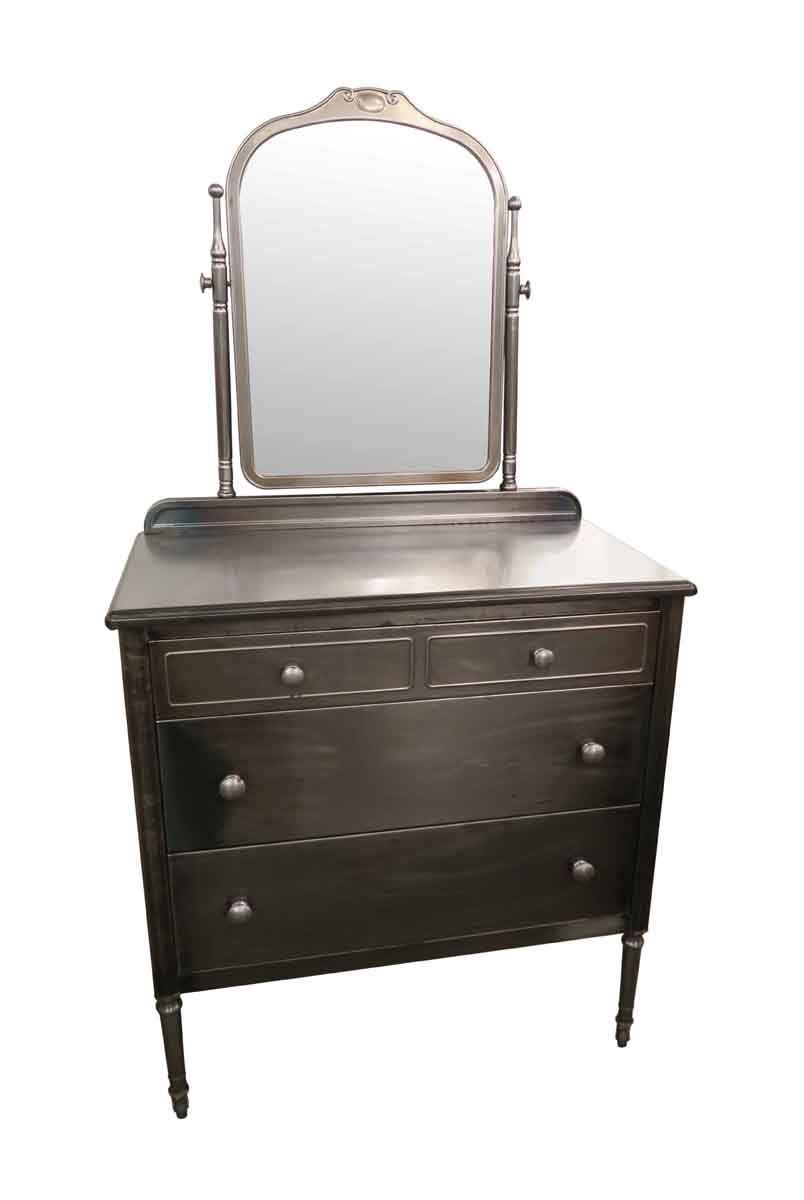 Refinished Steel Three Drawer Dresser With Mirror Circa 1930s This Was Recently Stripped To Reveal A Brushed Surface Priced Each