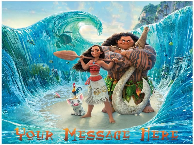 Moana And Maui On The Sea Edible Cake, Cupcake & Cookie Topper In 2019