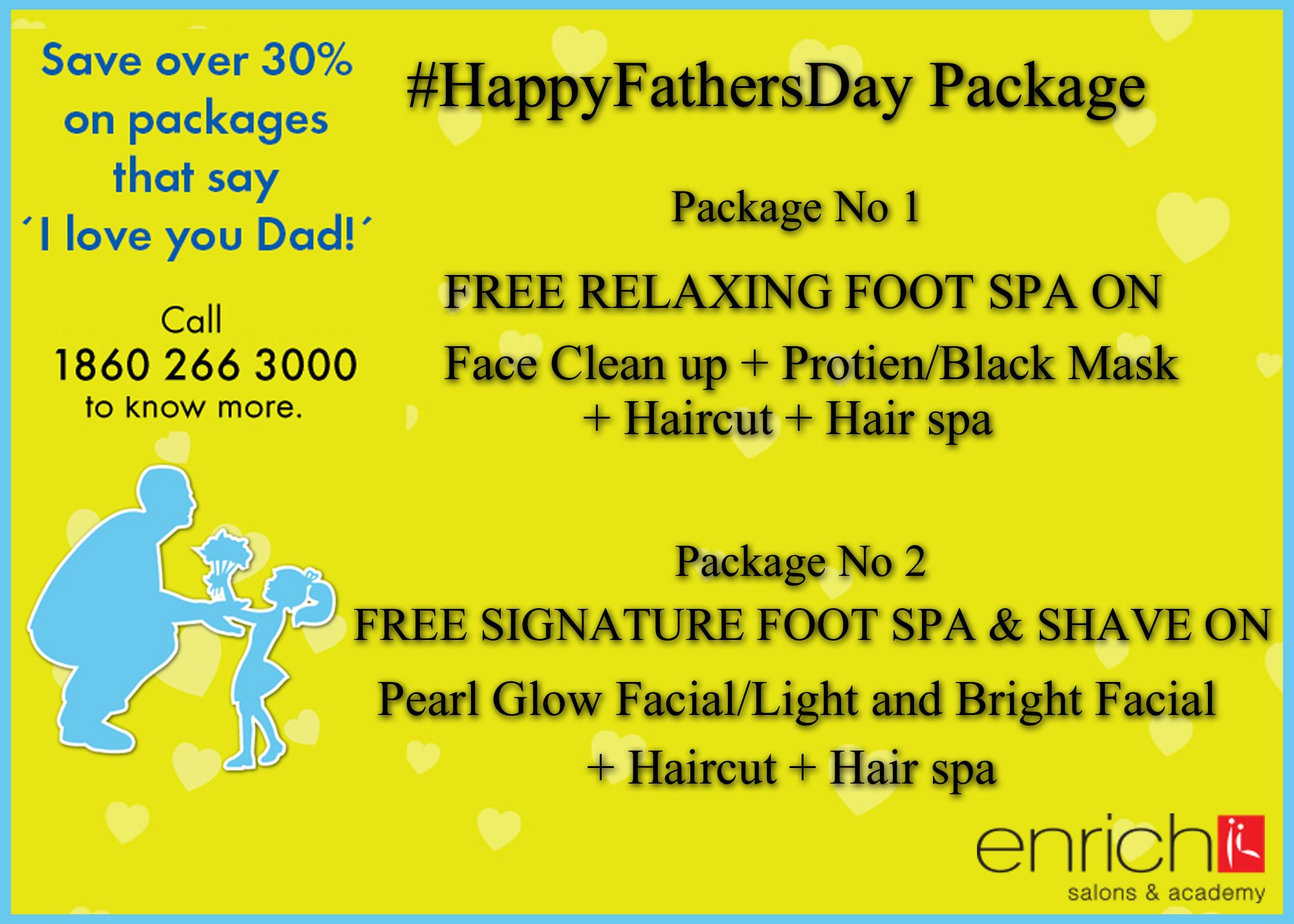 Is it hard for you to think, what should you #gift your Father on this coming Father's day!   Enrich Salon is here for your aid... we have #packages specially designed for your Dad.. Bring him to Enrich Salon near you and avail the awesome packages  Here are the details: http://bit.ly/1ouMoHG .