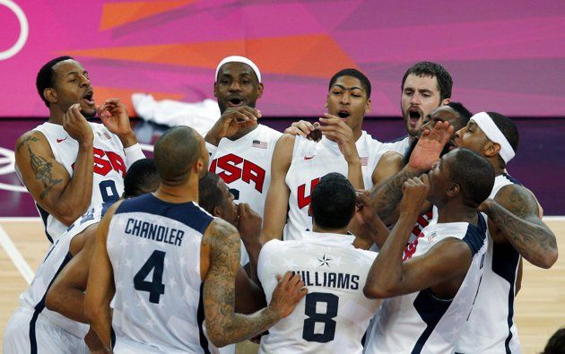 The U.S. players celebrate victory against Spain after their men's gold medal basketball match at the North Greenwich Arena in London during the London 2012 Olympic Games August 12, 2012.