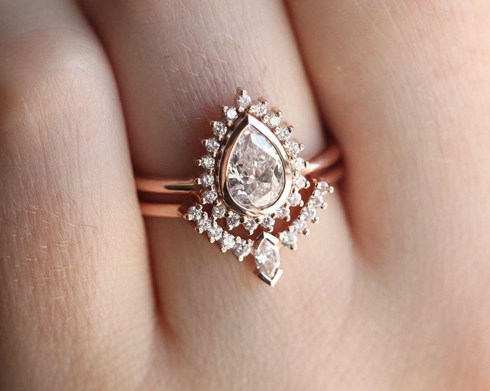 Halo Moissanite Diamond Ring Set in 14k 18k Solid