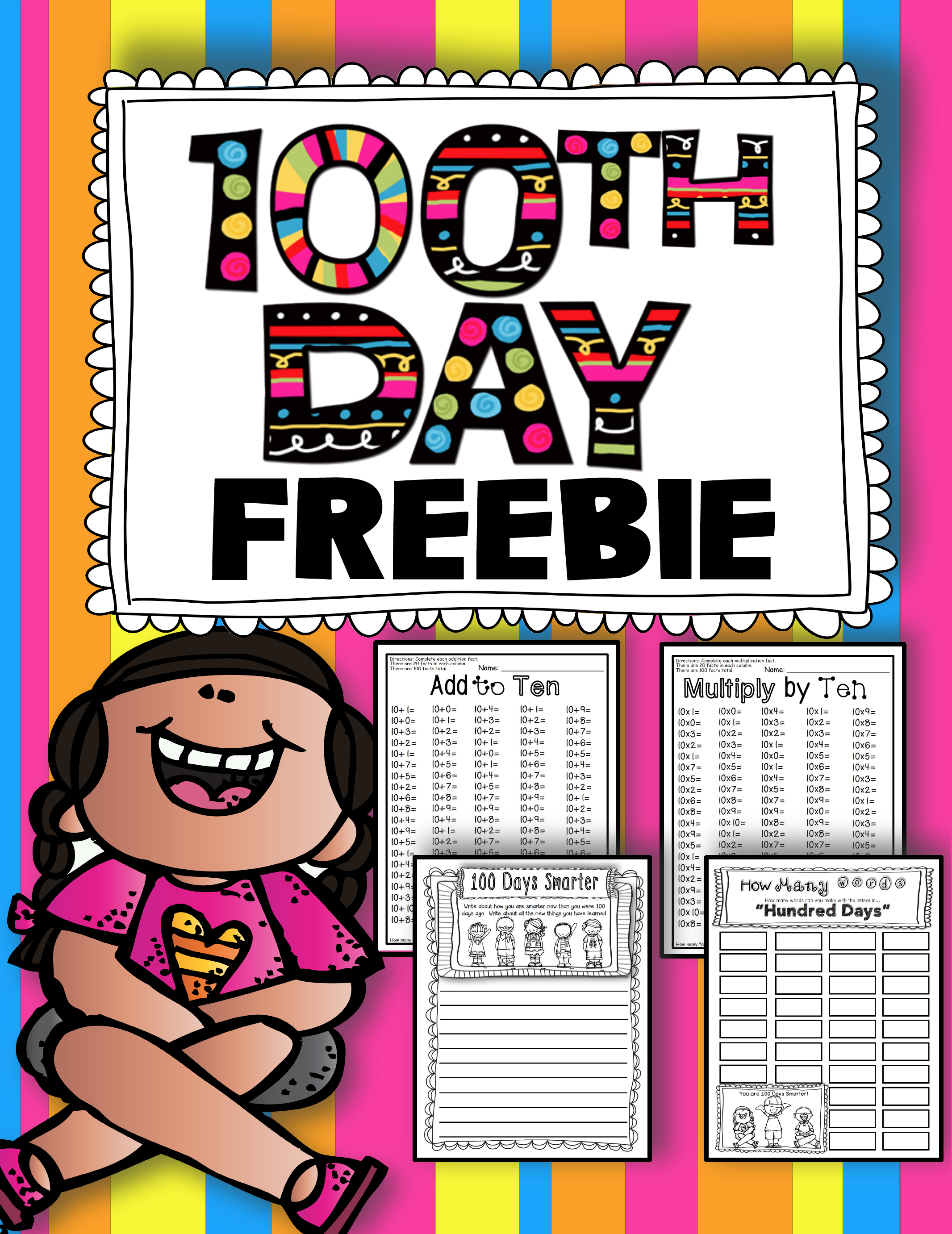 100th Day Of School Freebie 100 Addition Math Facts