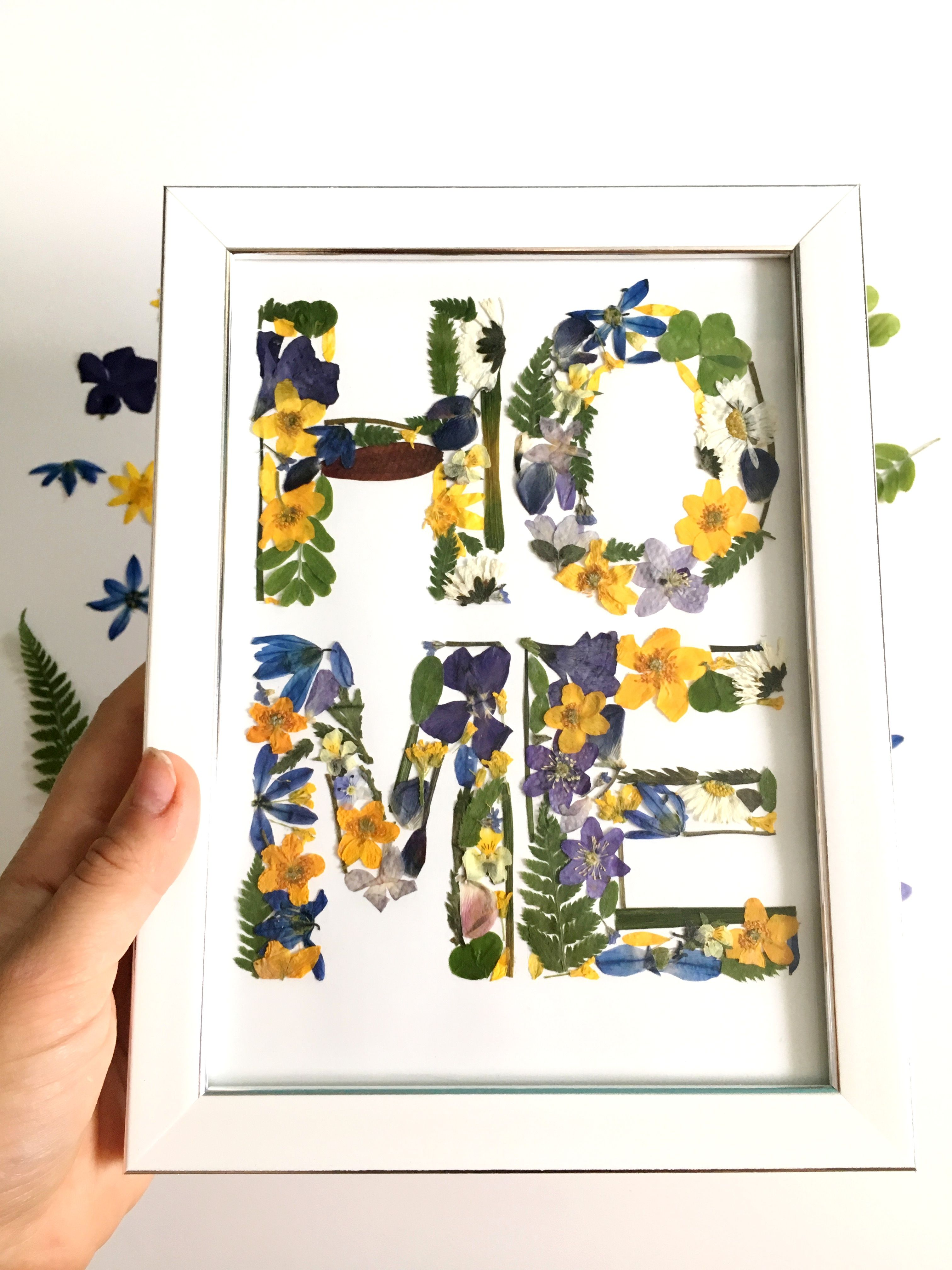 Photo of Our first home First home gift Housewarming gift For new home owners Framed gift Real pressed flowers Herbarium gift Wall decor
