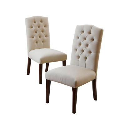 Noble House Crown Off White Linen Dining Chair Set Of 2 Linen