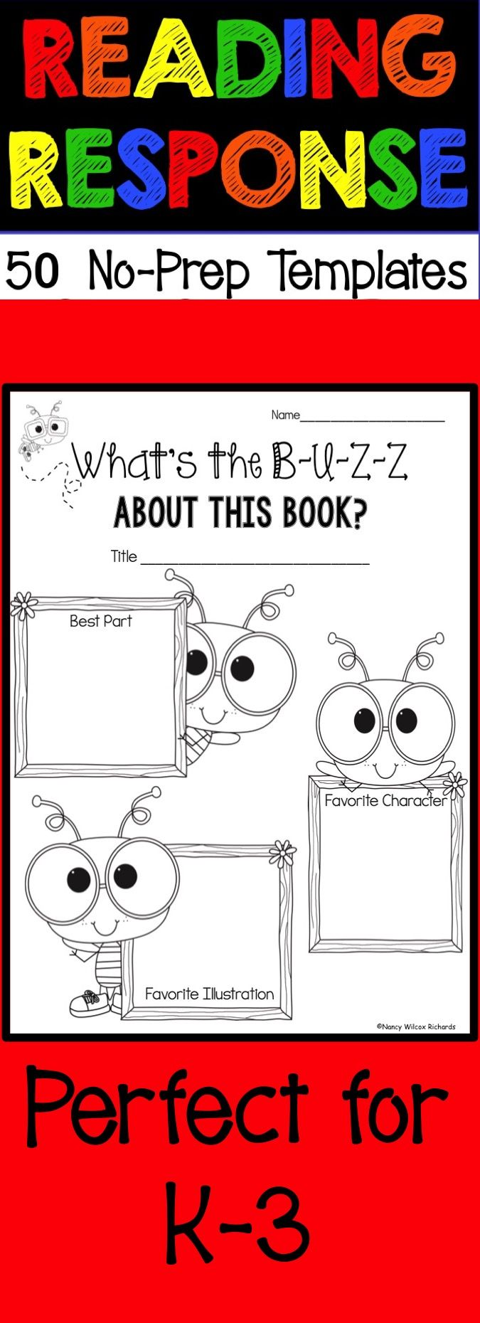 I Love These Cute Reading Response Templates K 3 Reading Response Elementary Reading Writing Activities [ 1860 x 675 Pixel ]