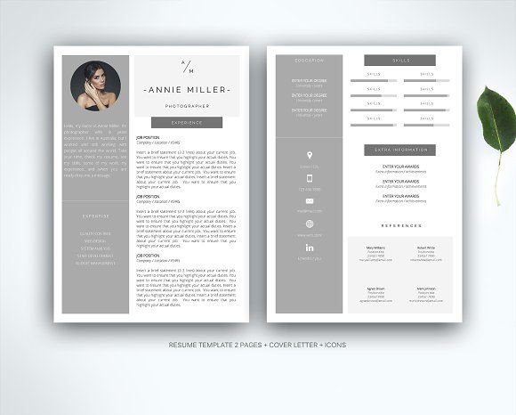 Resume Template For Ms Word By Fortunelle Resumes On Graphicsauthor Resume Template Resume Design Template Resume Words Skills