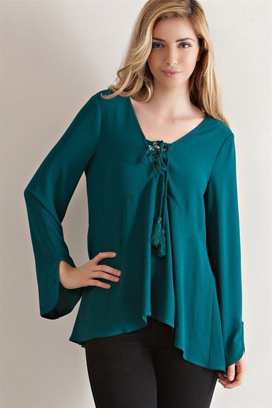 Hunter Green Asymmetrical Hem Peasant Top - Sm to Lg Monday/Tuesday Specials    * Save 20% off ONE item of choice  (Excludes brand names) * Bath/Beauty Products 15% off