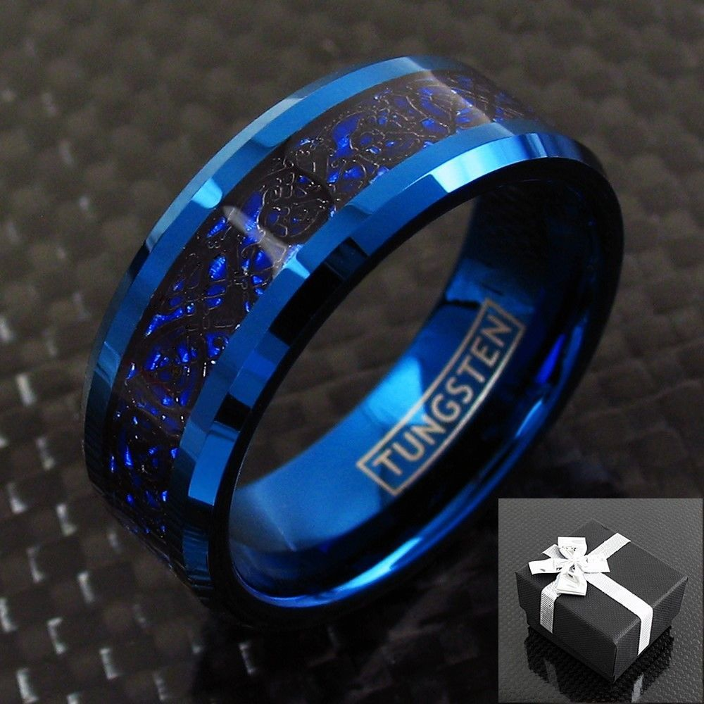 Details about 8mm Blue Tungsten Black Celtic Dragon Stripe Band Ring Mens Jewelry