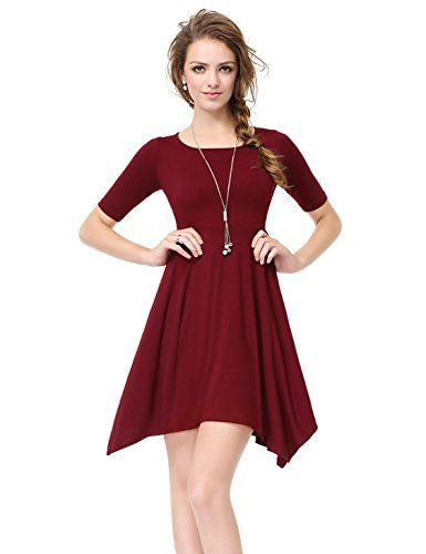 Alisa Pan Womens Short Fit and Flare Casual Day Dress 12 US Burgundy   You  can find more details by visiting the image link. (This is an affiliate  link and ... a75d24dd31