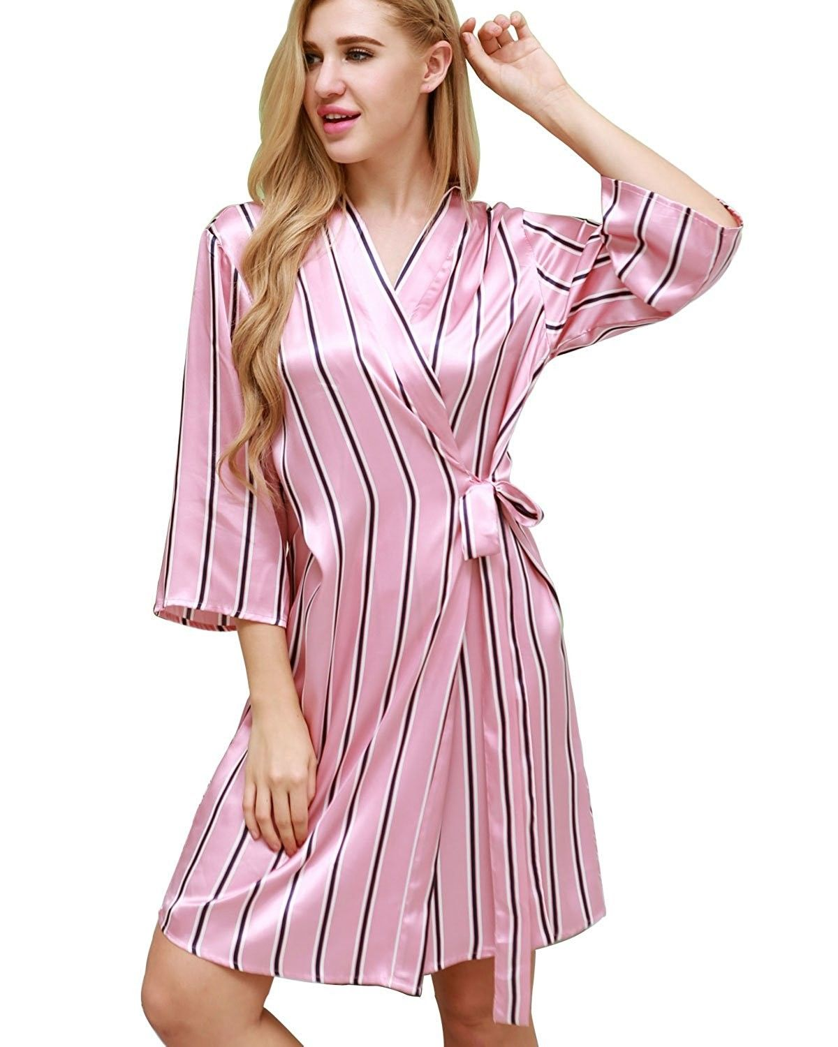 4c66af0b1 Women's Short Robe Satin Kimono Bathrobes Sleepwear S-XL - Pink Black  Stripe - CE182708A5Z,Women's Clothing, Lingerie, Sleep & Lounge, Sleep &  Lounge, Robes ...