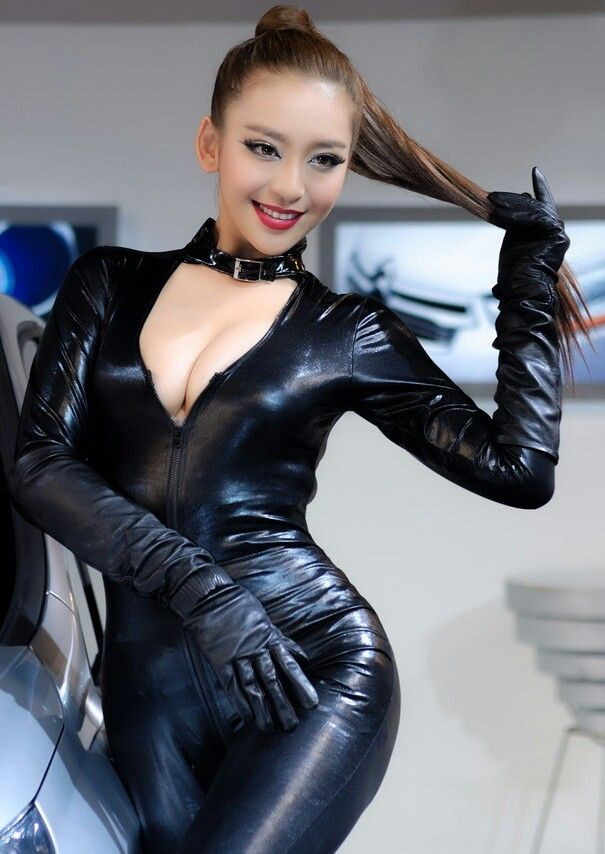 Wet Look Catsuit With Long Leather Gloves