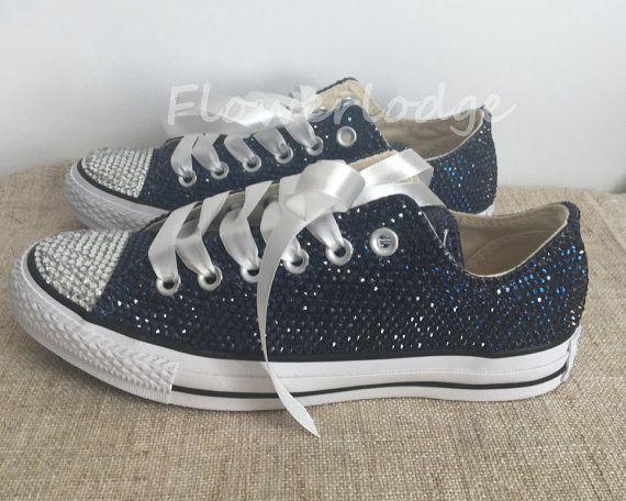 Navy Rhinestone Converse Shoes glitter converse by Flowerlodge ...
