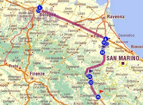 Milano Marittima Cartina Italia.Sulla Cartina Geografica Il Tracciato Dell Itinerario Sao Geografia Ravenna