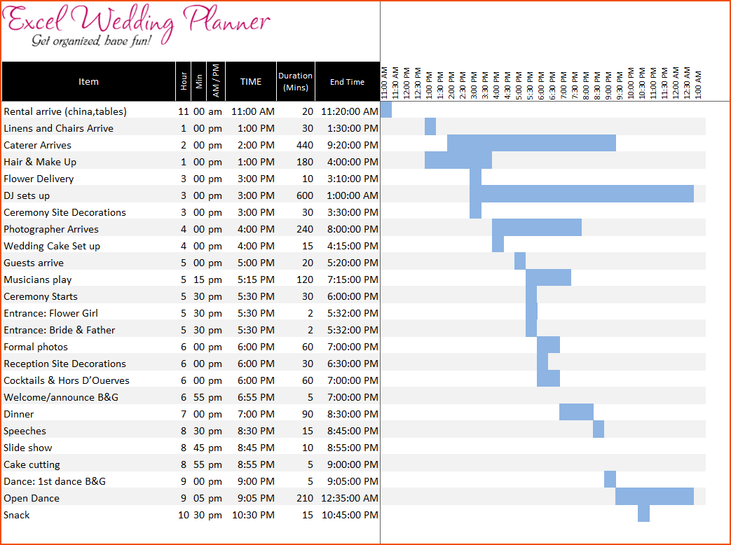 wedding planning checklist excel