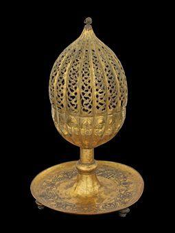 vvv late 17th century, turkey - an ottoman gilt-copper ( tombak ) incense burner