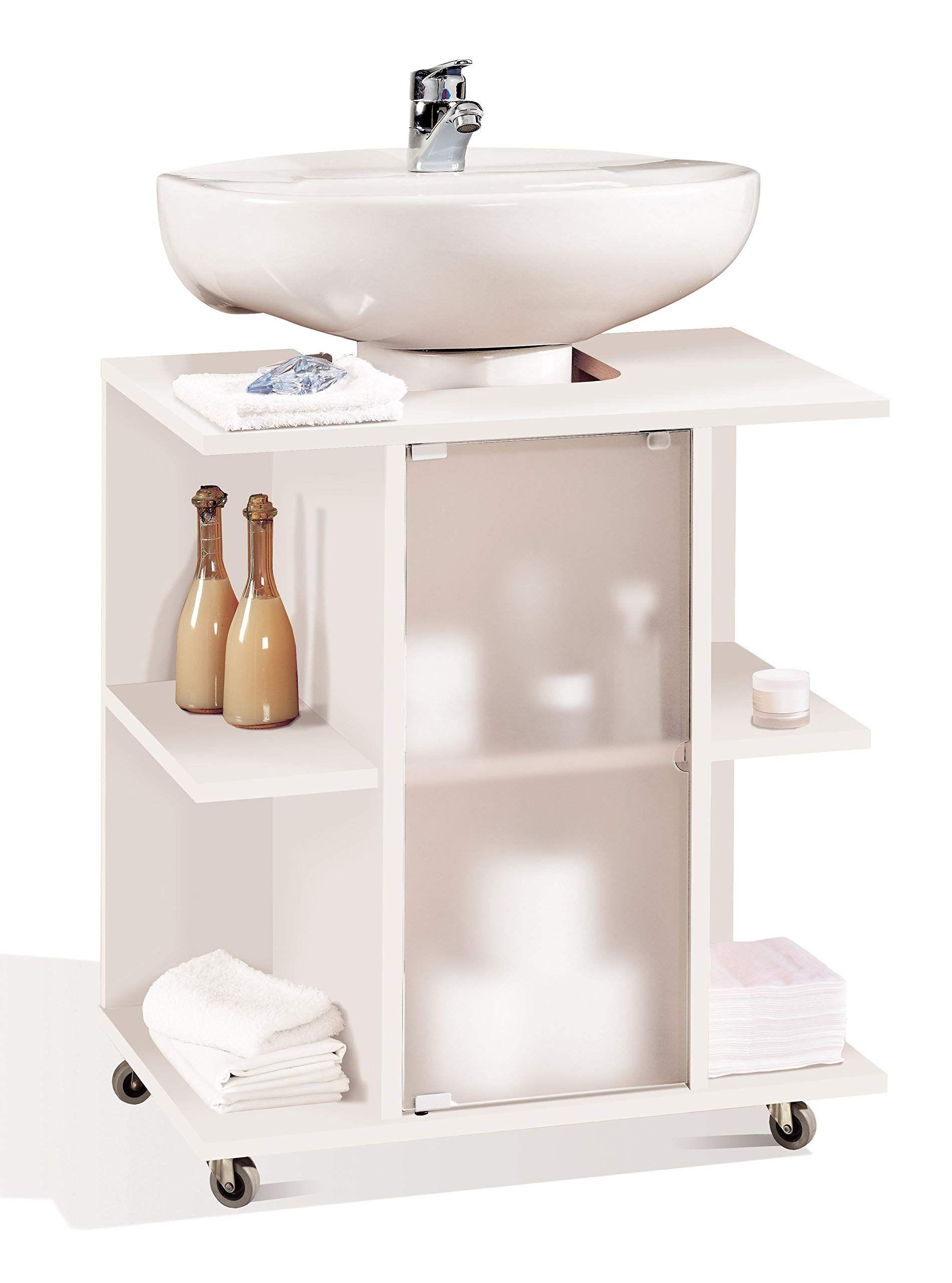 Miroytengo Mueble Baño Aseo Bajo Color Blanco Para Lavabo Pie Pedestal Estantes Puerta Y Ruedas 59x45x64 Cm Muebles De Baño Muebles De Lavabo Muebles Lavamanos