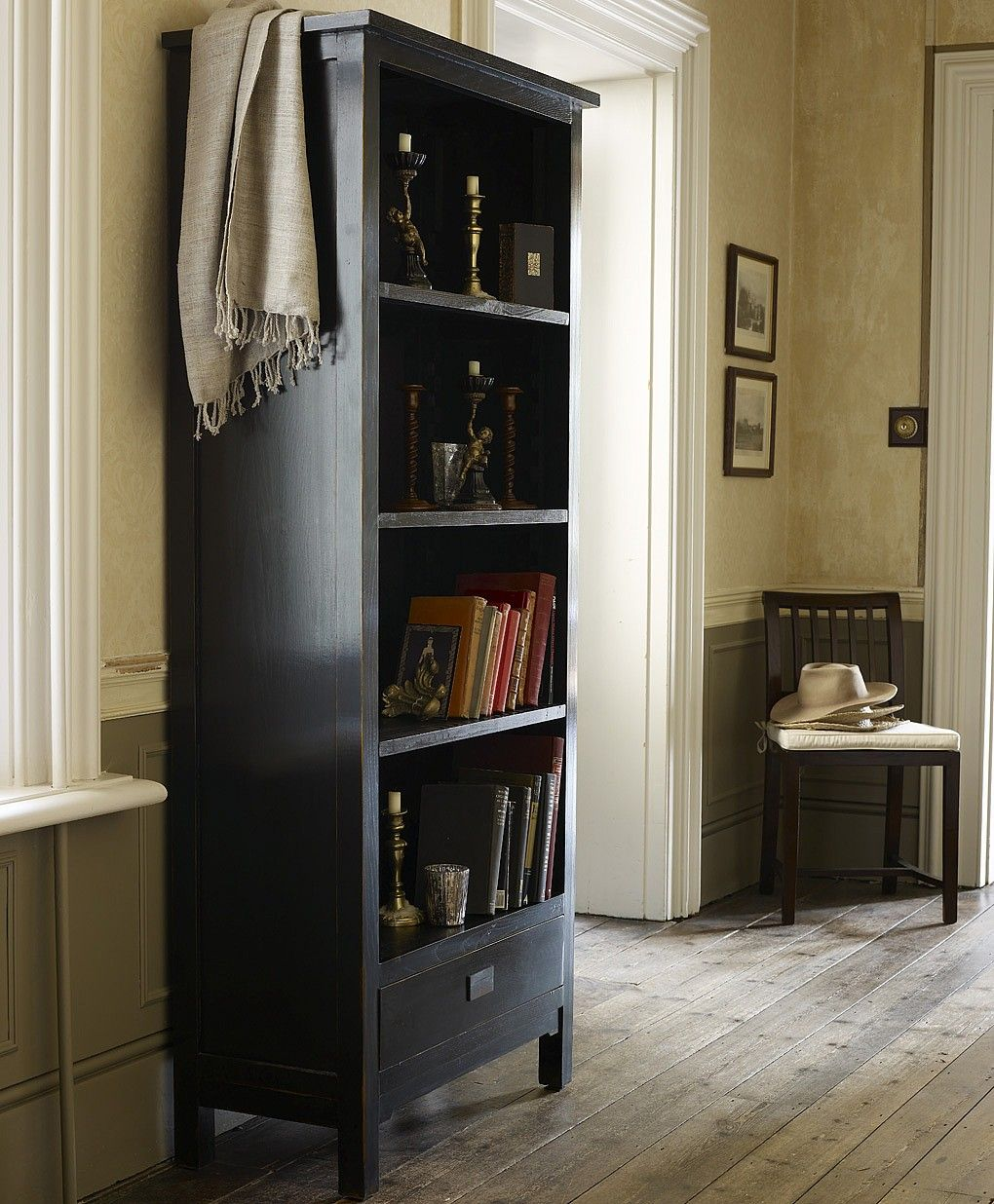 Canton Tall Black Bookcase From Lombok