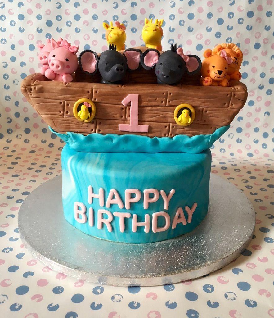 Noahs Ark cake I made for a wee girls 1st birthday cake
