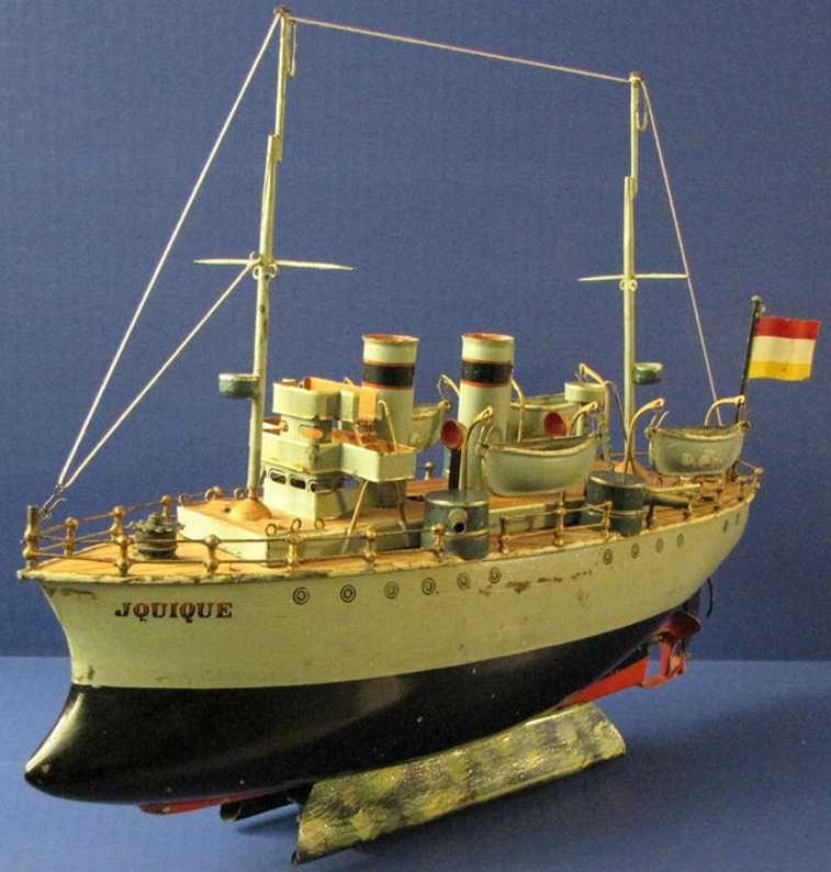 Märklin Tin-Ships battleship, cruiser JQUIQUE with Clockwork windup motor