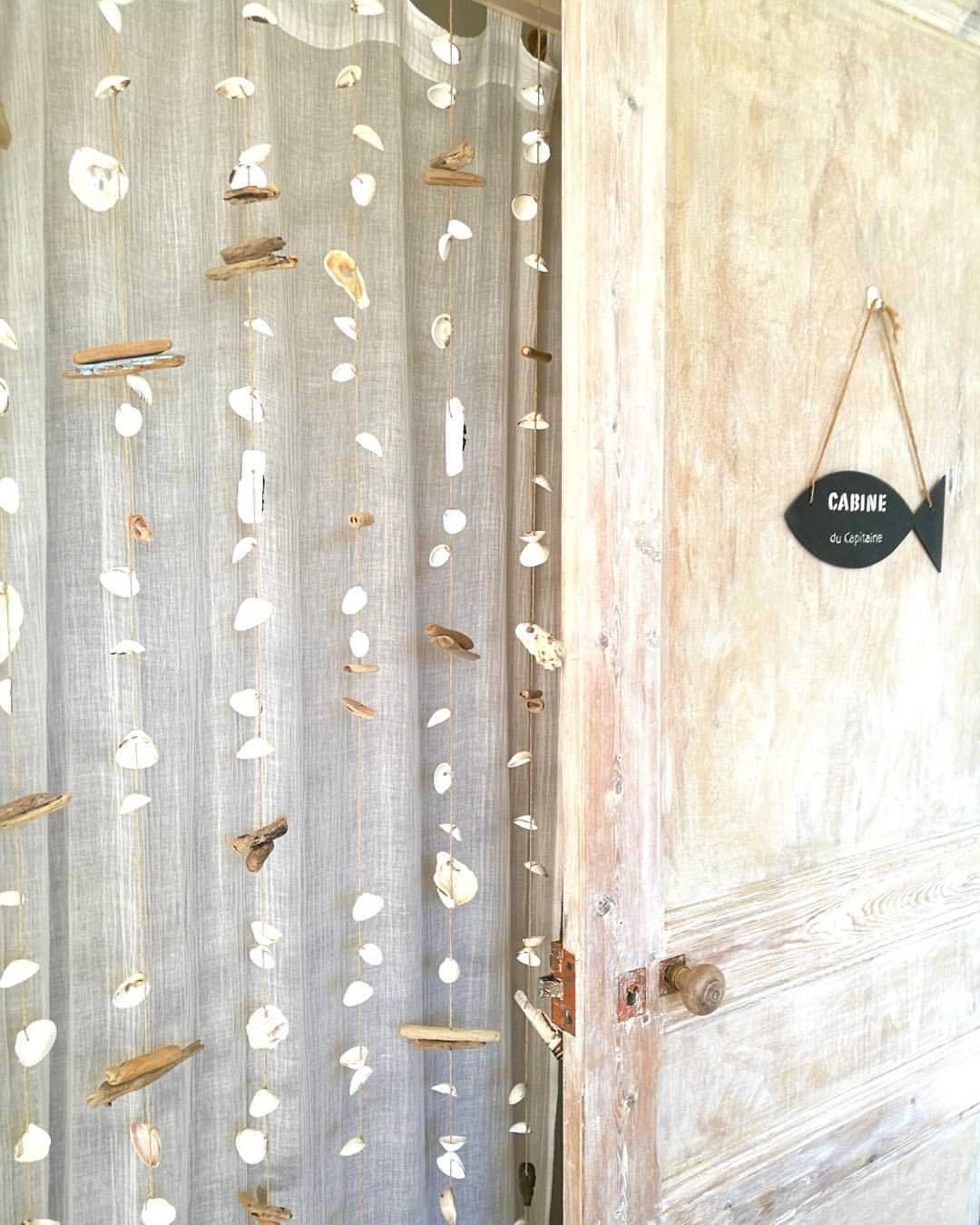 rideau coquillages bois flotte pour