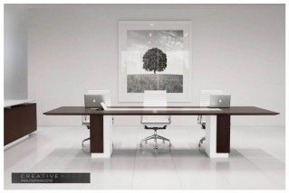 Dark Walnut White Lacquer Conference Table Rendering