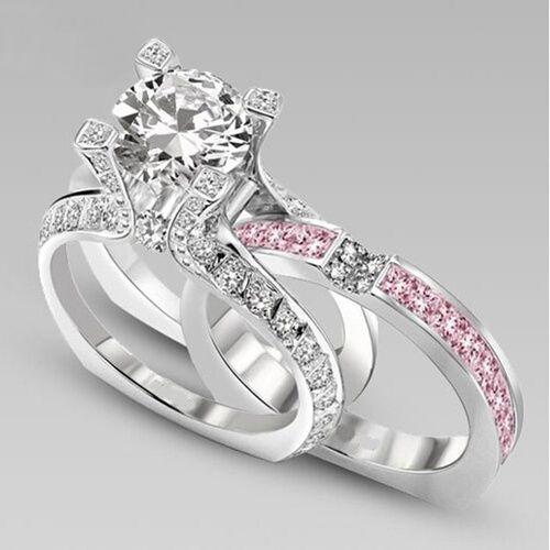 2pcsset Couple Wedding Promise Engagement Rose Gold Ring Set Size 6 7 8 9 10