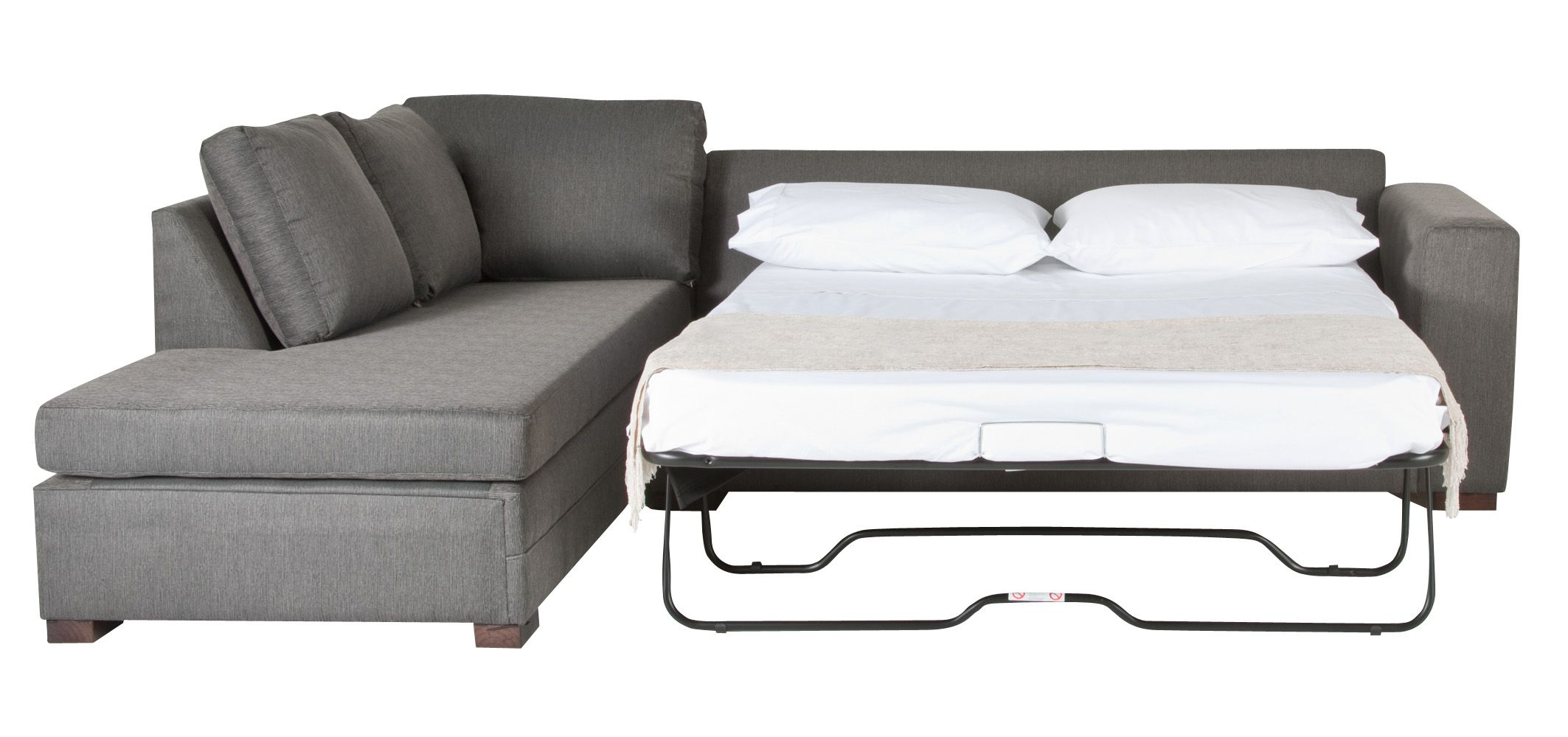 Picturesque Gray Fabric Sleeper Couch With Pull Out Bed ...