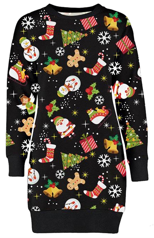 Weihnachtspullikleid Kleid 36 Weihnachtspullover Damen Sweatshirt