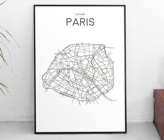 Downloadable Art Print Printable Poster City Map Paris: Paris City Map Poster At Infoasik.co