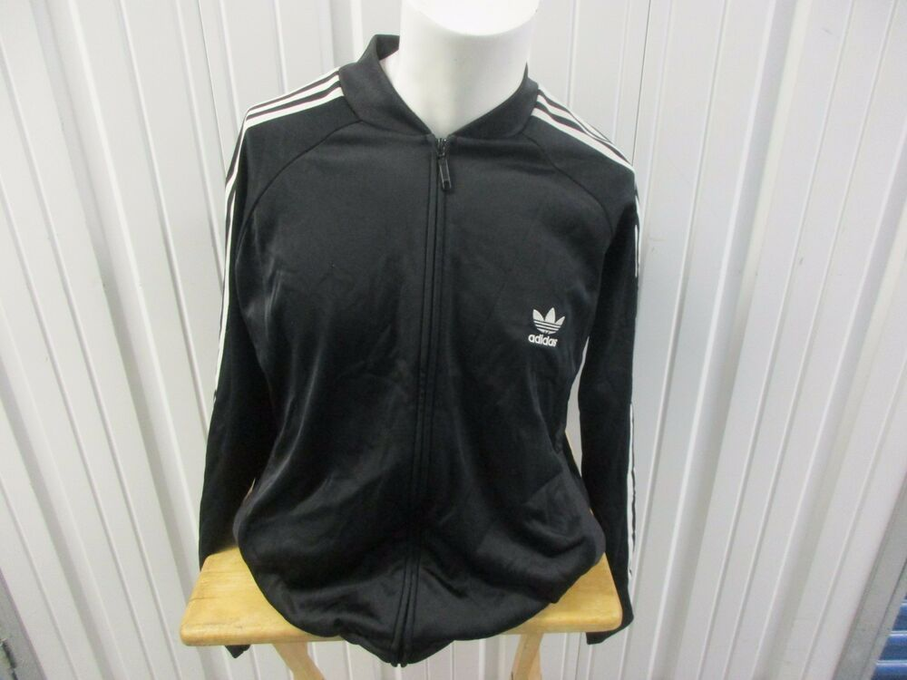 VINTAGE ADIDAS LARGE BLACK SUPERSTAR TRACK JACKET 3 STRIPED