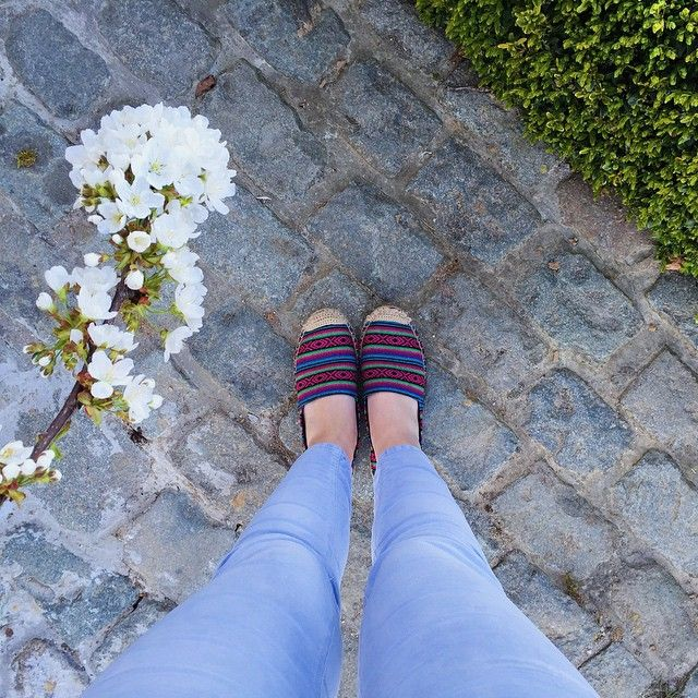 Espadrilles & cobblestones. #forever21 #ootd #colourful #shoes