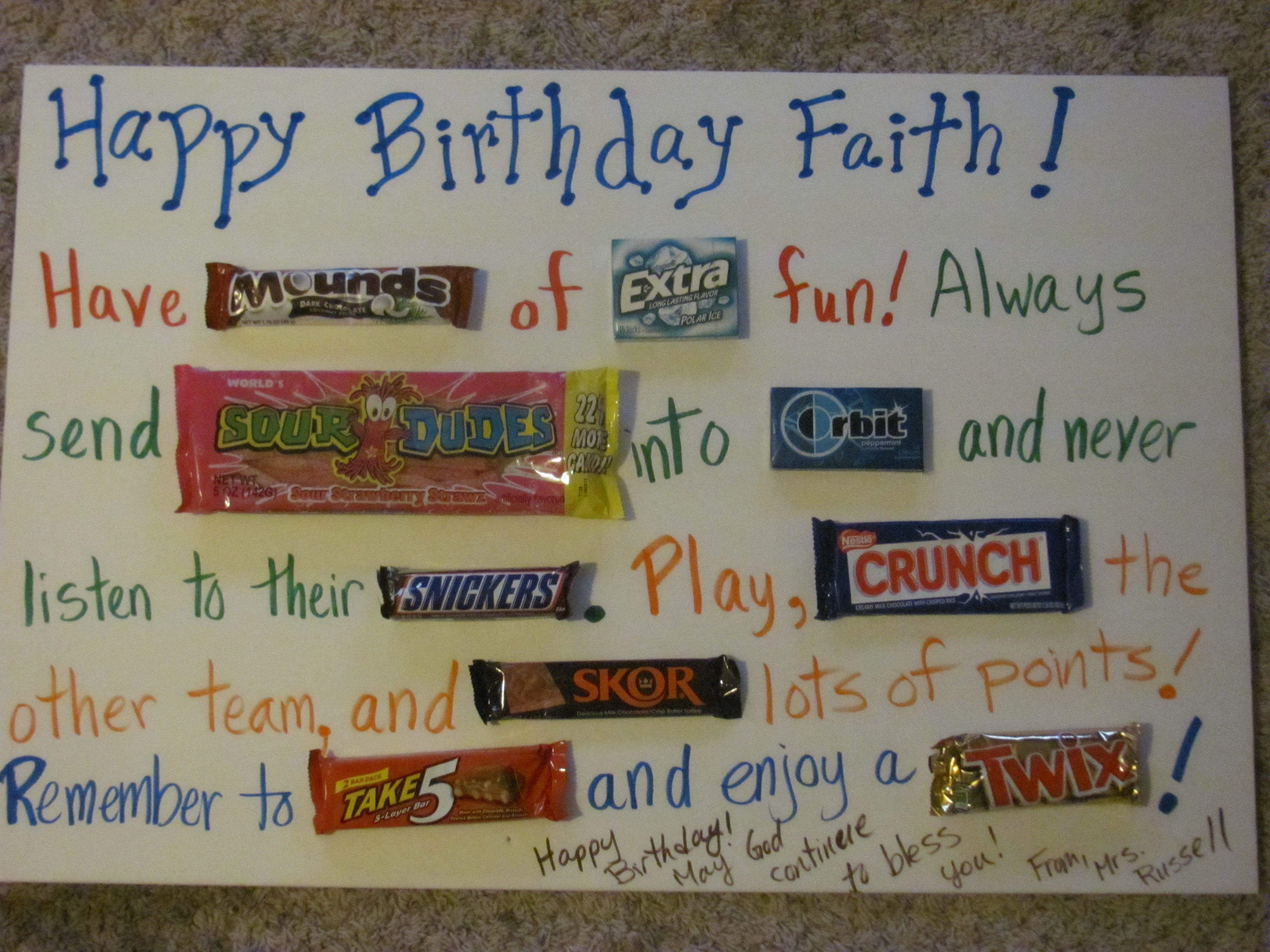 A Huge Birthday Card Made With A Foam Board And Candybars Glued On Birthday Cards Card Making Birthday Big Birthday Cards