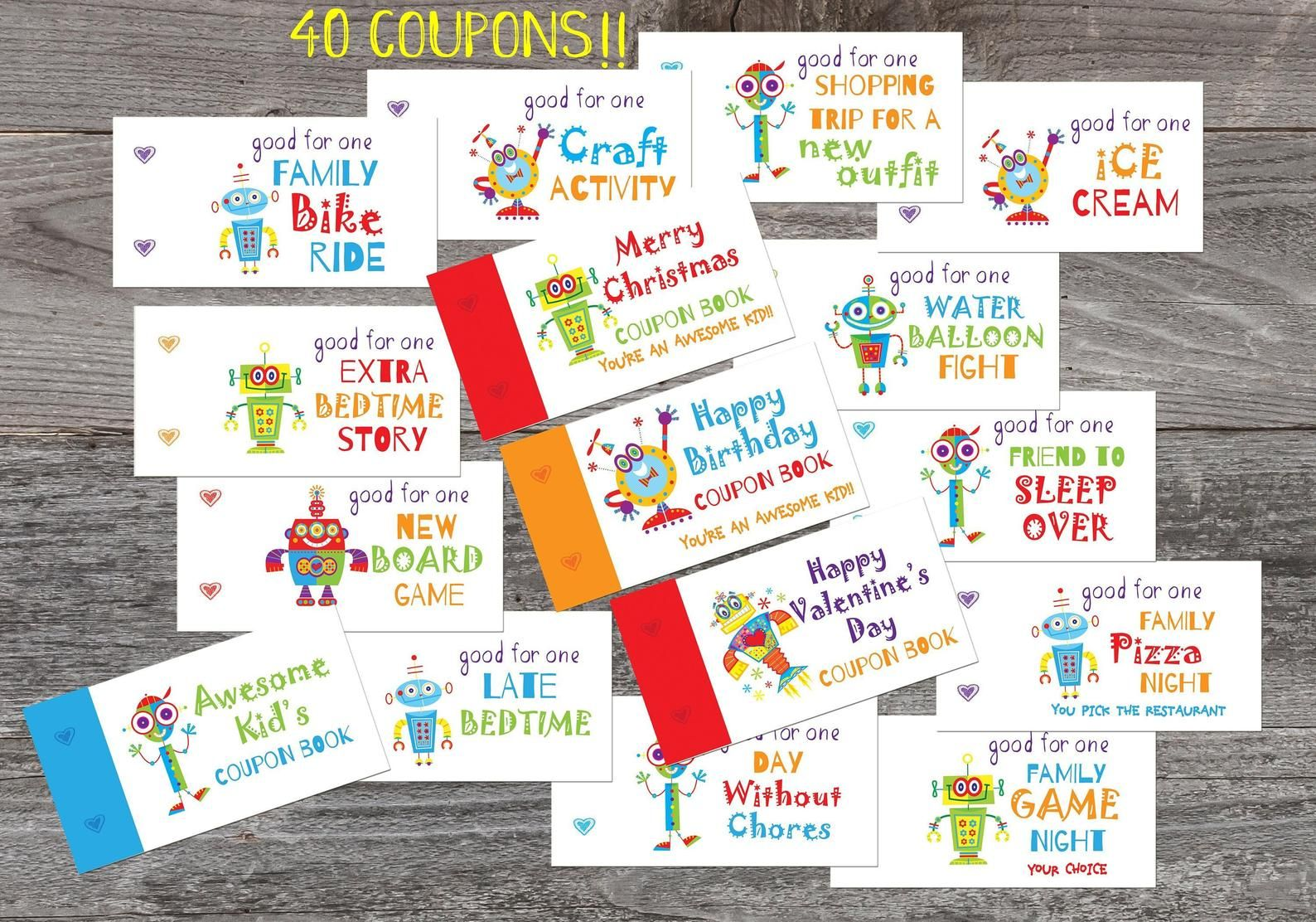 Coupon Book for Kids Birthday printable Love coupons gift