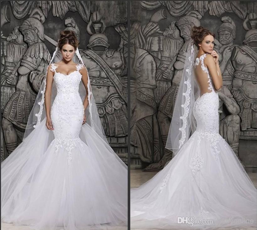 In Stock Berta Y Sheer Back Mermaid Wedding Dresses Spaghetti Straps Full Lace Liqued Bridal Gown Saudi Arabia Dubai Vestidos