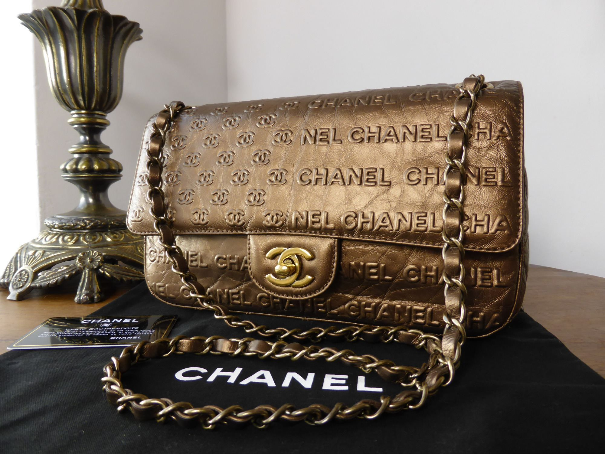 fe91510478ee Chanel Symbols Flap in Bronze Metallic Calfskin with Antiqued Gold Hardware   gt  http