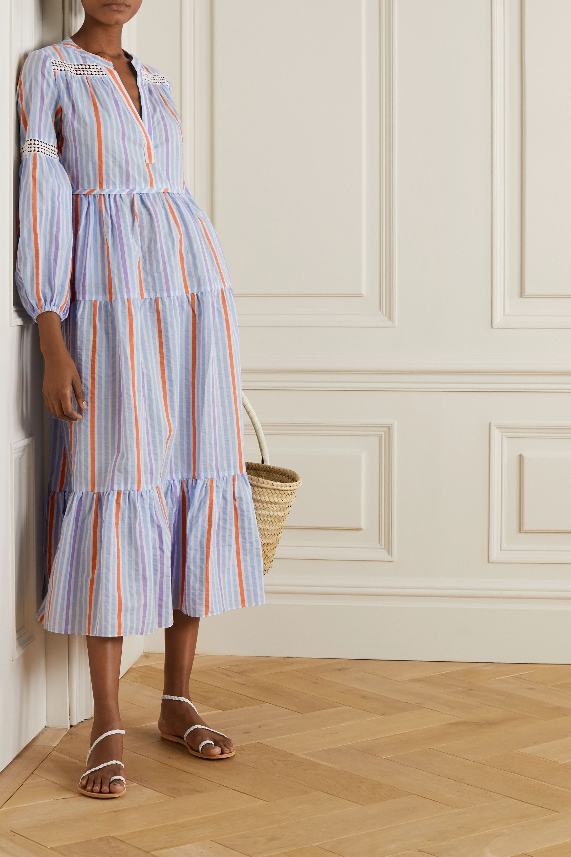 31 Tiered Dresses You Ll Want To Frolic Through A Meadow In Tiered Dresses Beach Wear Outfits Striped Linen [ 3000 x 2000 Pixel ]