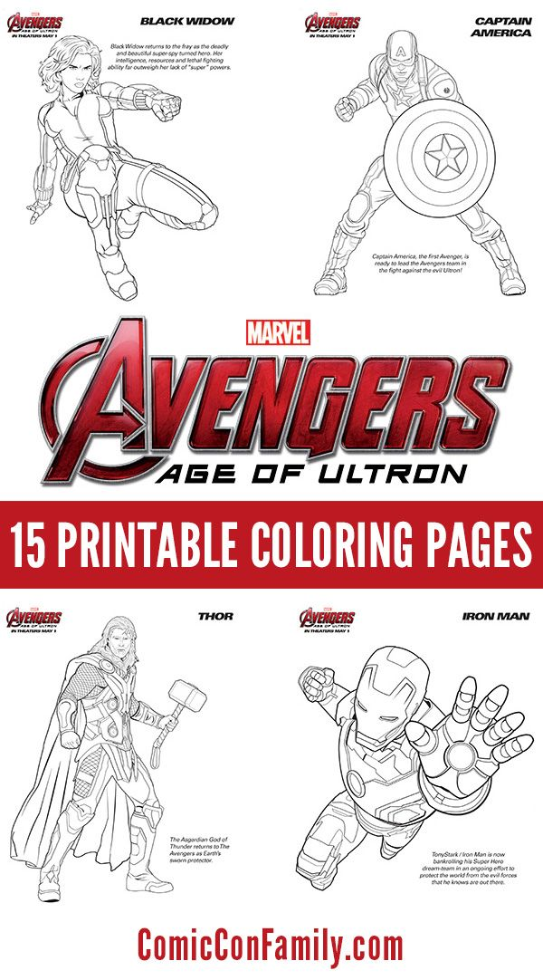 Free kids printables marvels the avengers age of ultron coloring pages comic con family