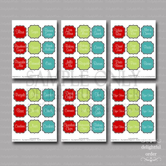 Colorful Kitchen Pantry Labels 6 PDF By DelightfulOrder On