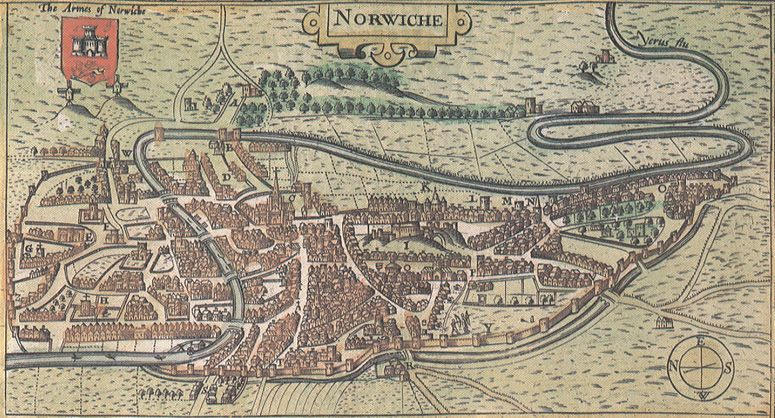 View of Norwich from the west detail from the map of the County of