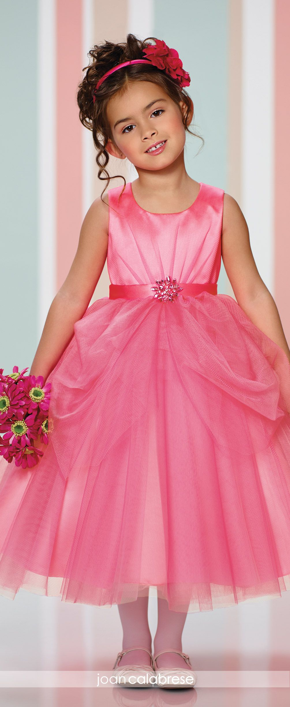 Joan calabrese flower girl dresses pink flower girl dresses joan calabrese for mon cheri fall 2016 style no 216324 bright pink flower girl dress in satin and tulle with doulbe layered pick up skirt mightylinksfo