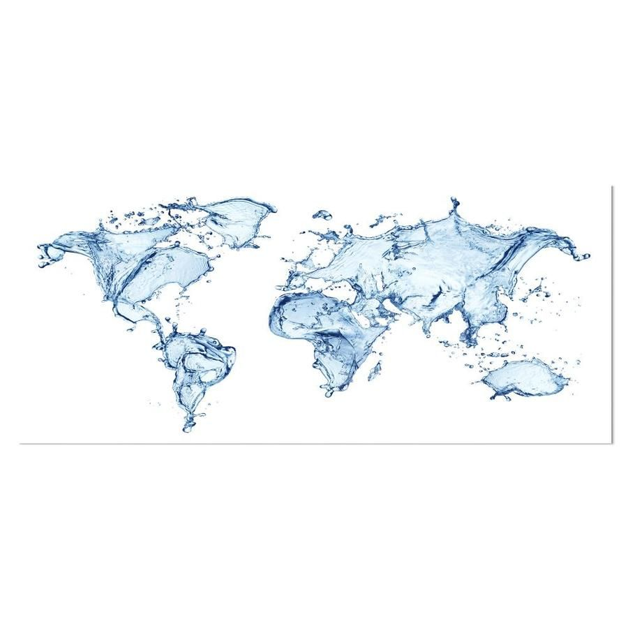 Designart Designart 12-in H x 28-in W Maps Metal Print in Blue | MT8420-28-12