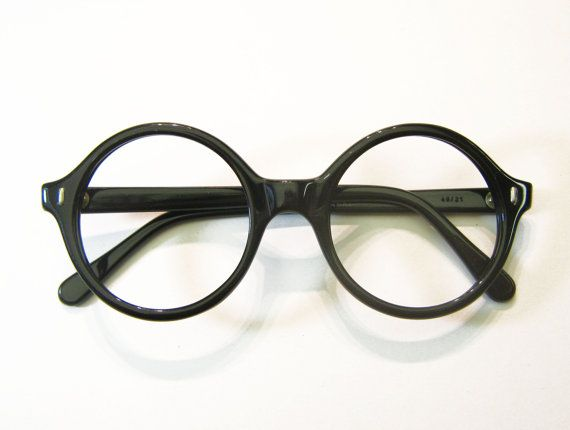 Large French 360 Round Eyeglass Frames France Vintage 60\'s Black ...