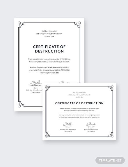Free Certificate Of Destruction Template 6 Templates Example Templates Example Certificate Templates Professional Templates Pamphlet Template