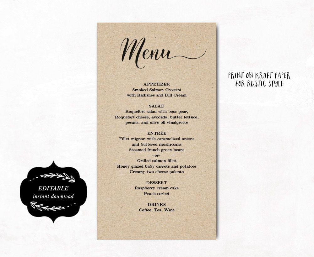 Printable Wedding Menu Template, Kraft Wedding Menu, Simple and ...