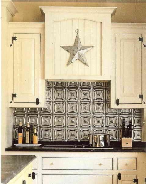 a tin ceiling tile backsplash, or any backsplash made from tin for