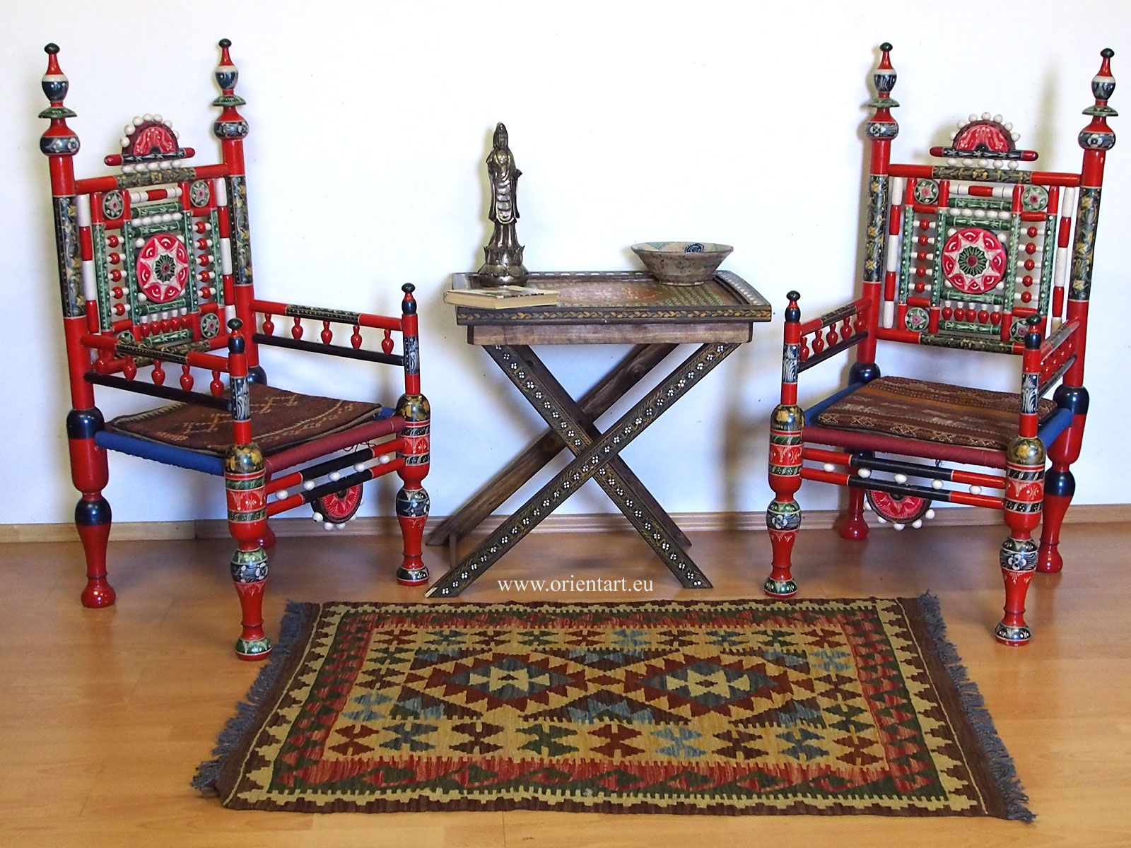 A Pair Of Traditional Punjabi Tribal Chairs From Pakistan With Collapsible Table Brilliantly