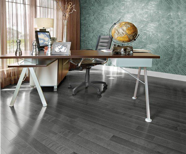 Modern Gray Hardwood Flooring Home Office Design Ideas Green Wall
