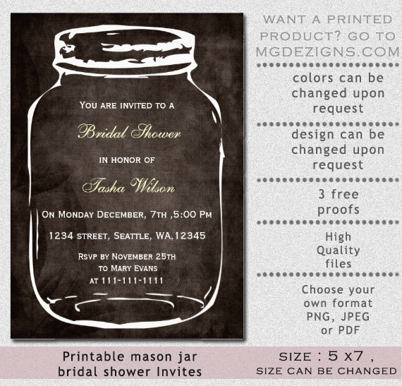 rustic mason jar bridal shower invitation | diy printables | pinterest, Baby shower invitations